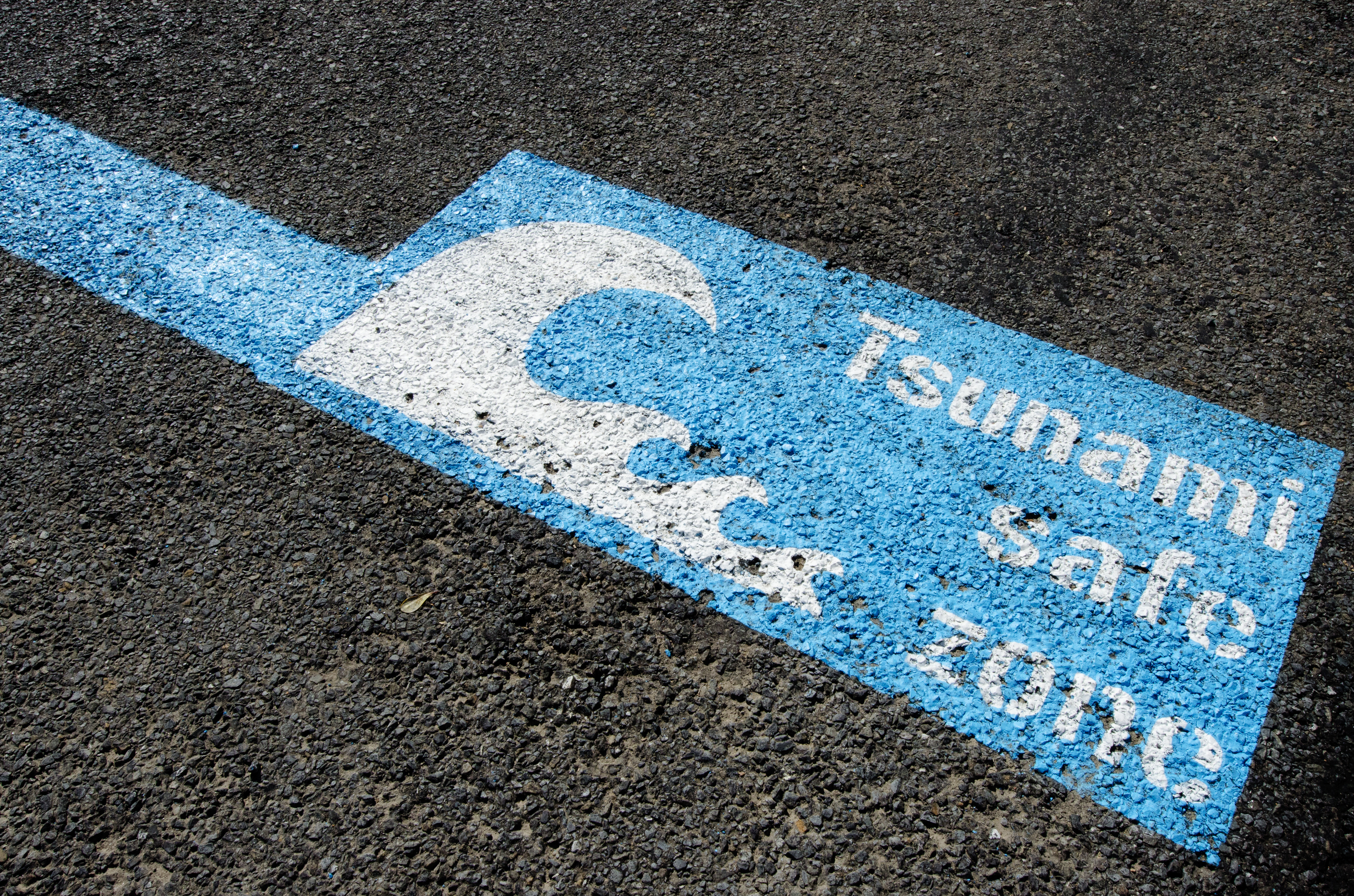 Tsunami safe zone marked on the streets of Wellington city, New Zealand.